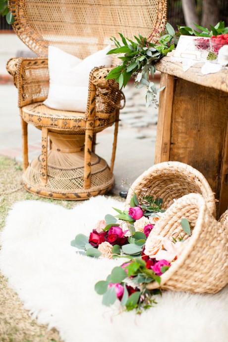 decoration mariage osier panier
