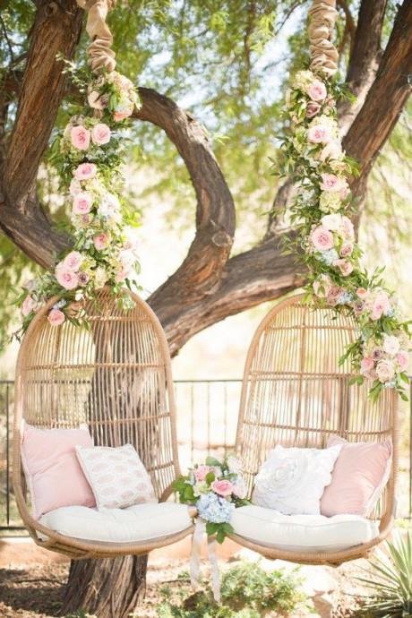 decoration osier fauteuil suspendus