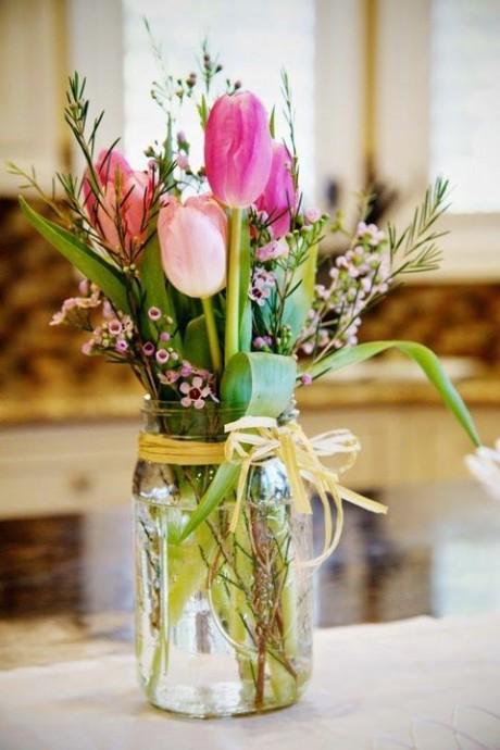 fleurs decoration de mariage paques