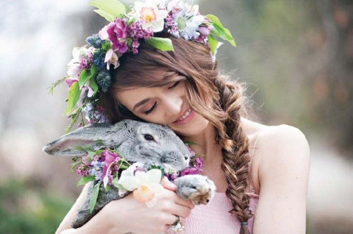 mariee couronne de fleurs paques