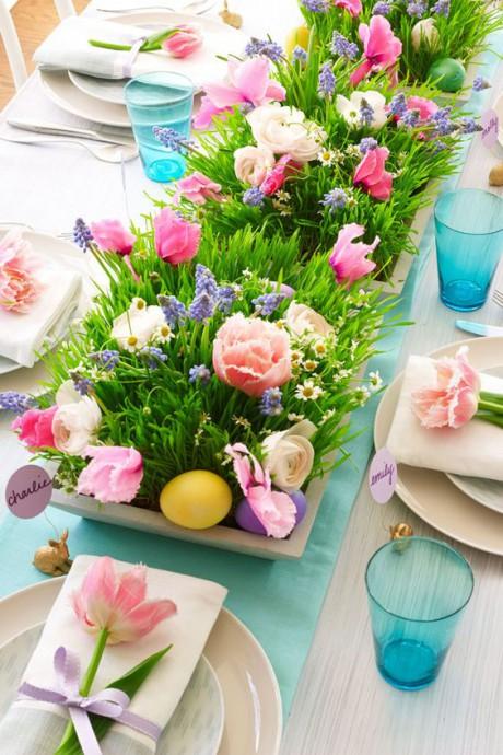 table de mariage fleurs paques
