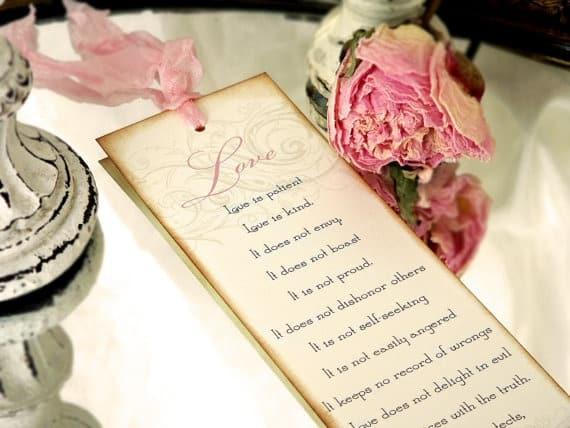Marque-page mariage