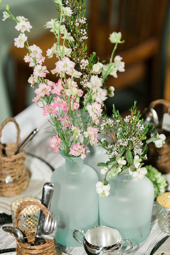centre de table menthe a l eau fleurie