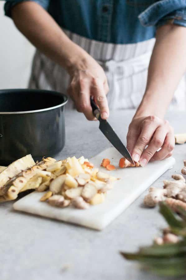 couper le gingembre