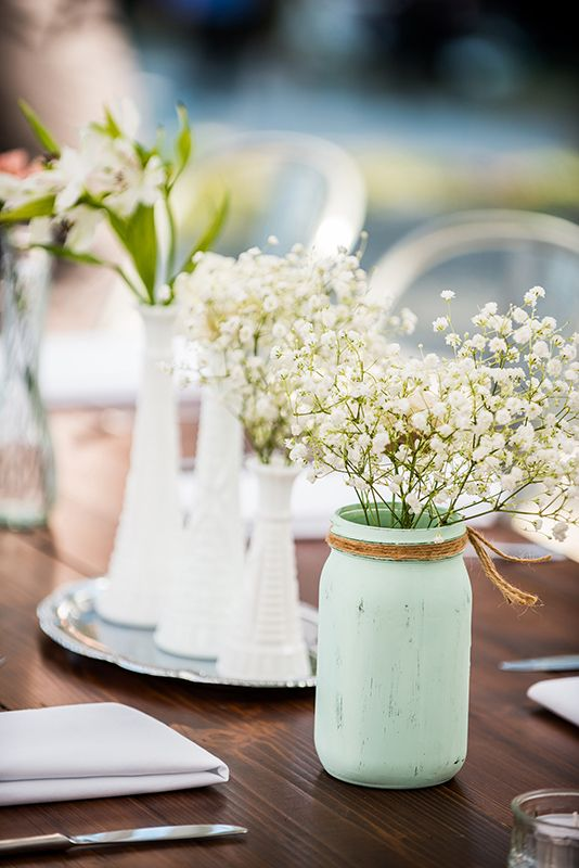 deco table fleurie et menthe a l eau