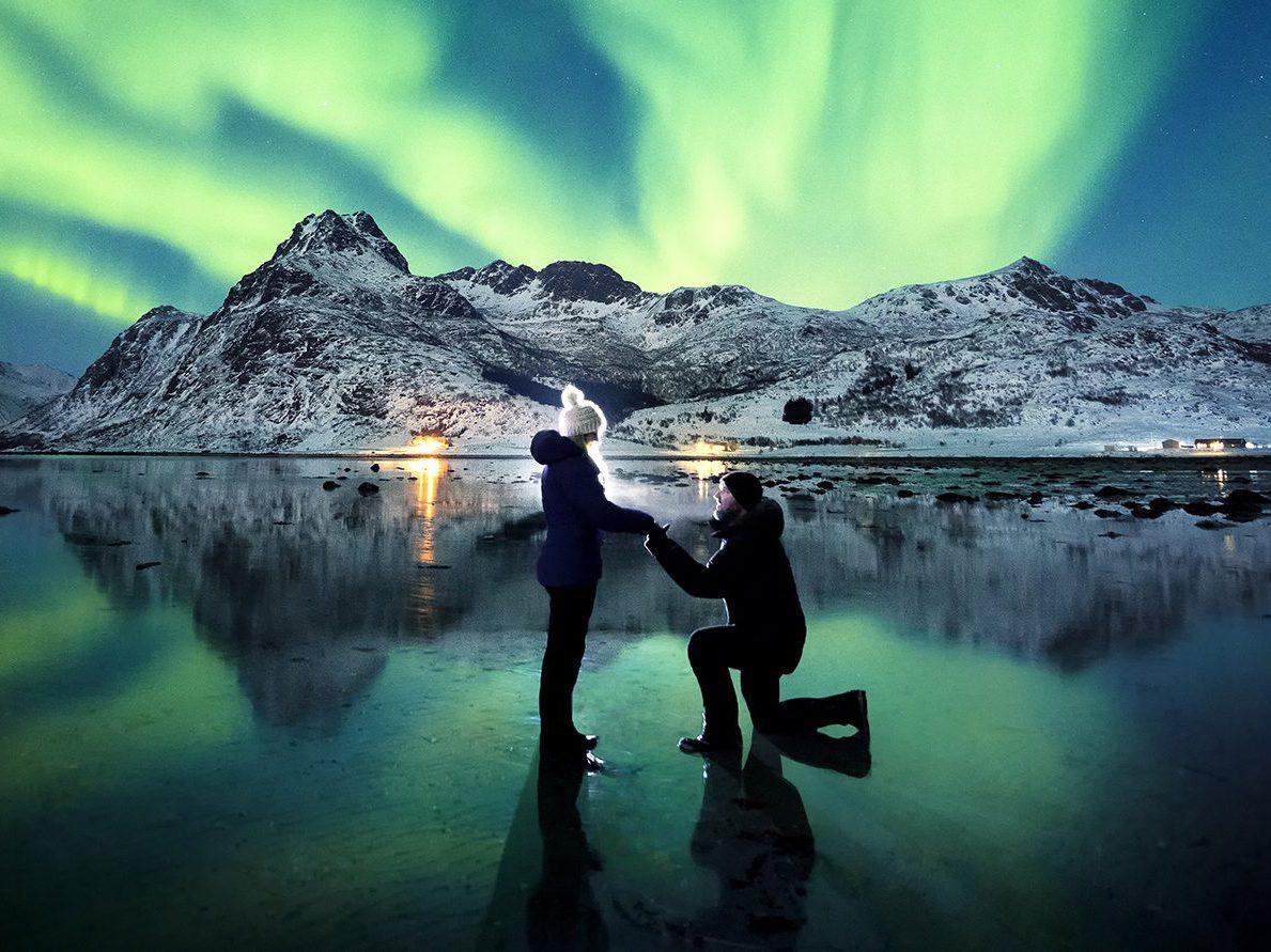 demande en mariage aurore boréal