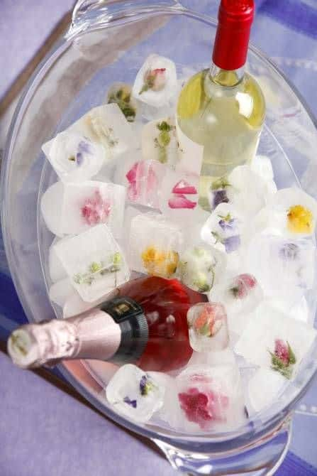 floral iced cubes