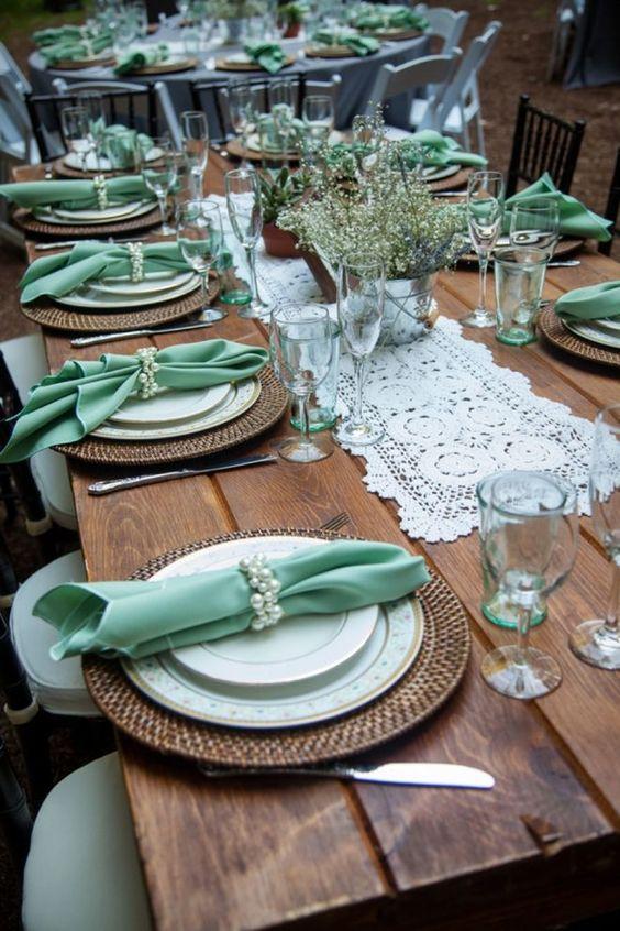 table de reception mariage bleue et blanche