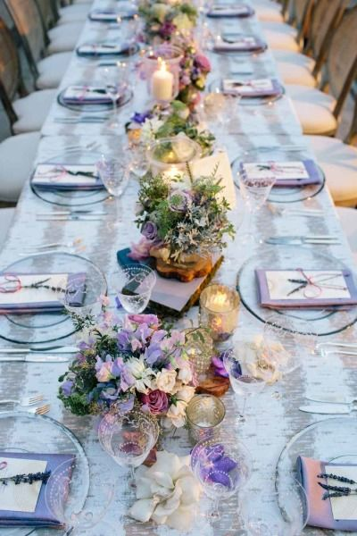 table theme lavande