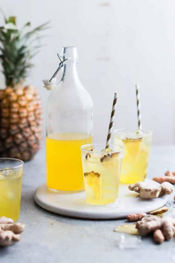 thé glacé ananas gingembre