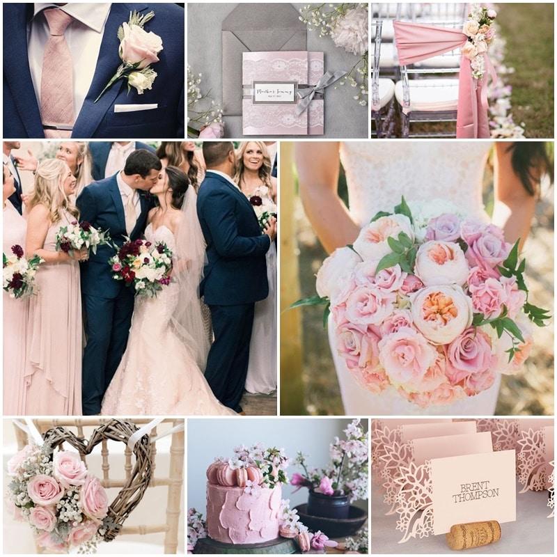 Planche mariage thème rose pâle