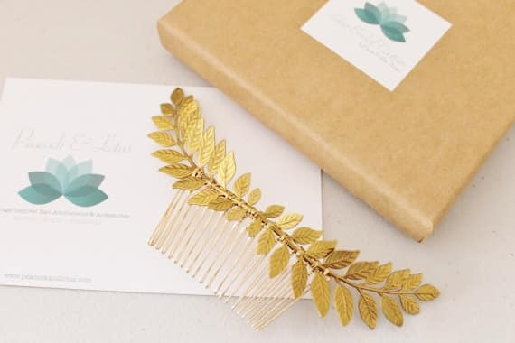 Peigne à cheveux feuilles grecques couleur or, 31,69 € - Etsy