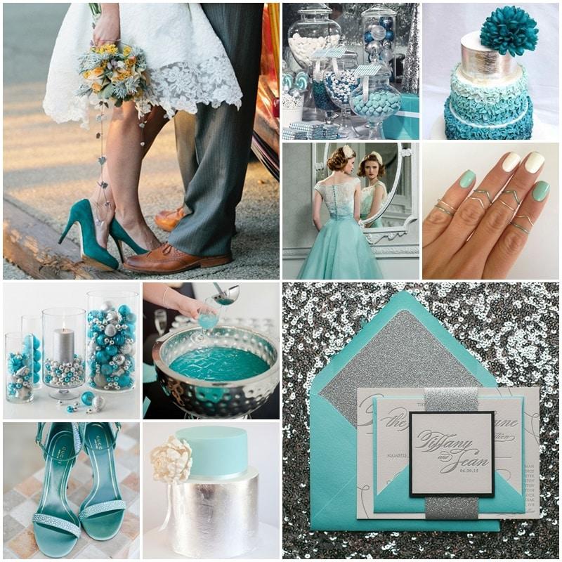 Planche Mariage thème Turquoise & Aregnté