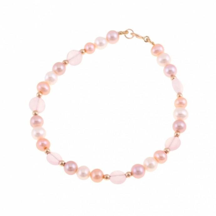 Bracelet en or jaune, boules or, perles de culture et quartz rose