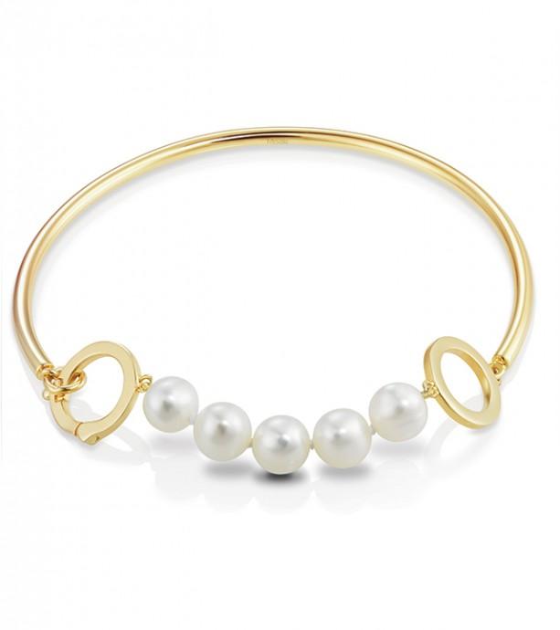 Bracelet en perles artisanales blanches et métal doré à l'or 18 carats