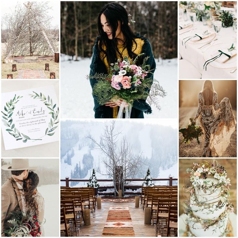 Planche mariage boheme et naturel au coeur de l'hiver