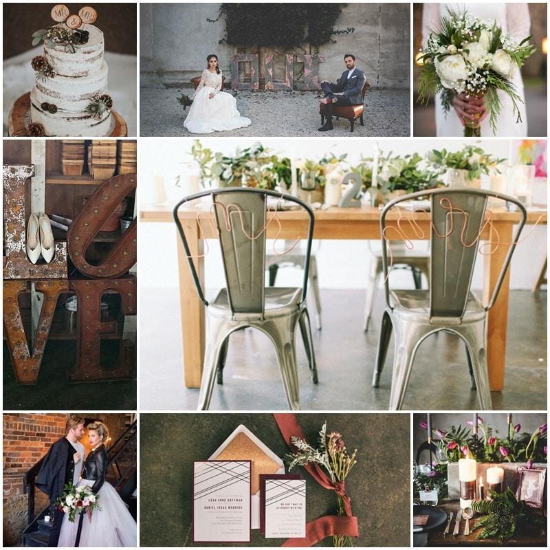 Planche mariage industriel au coeur de l'hiver