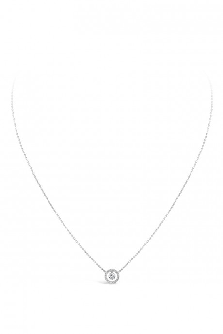 Collier « Entourage » en or blanc 18cts et diamants de centre 0.25ct et pavage dimants 0.10ct SARLANE EN EXCLUSIVITÉ AUX GALERIES LAFAYETTE 2490€