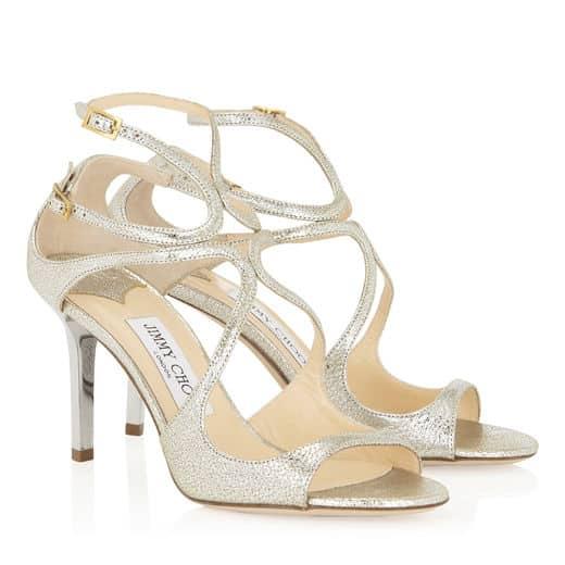 Sandales pailletées à lanières couleur champagne