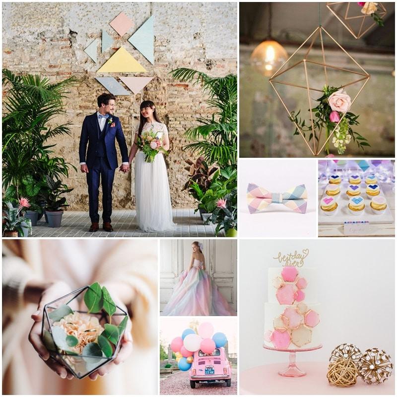 moodboard mariage pastel et geometrique