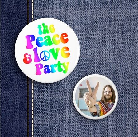 mariage peace and love-badge