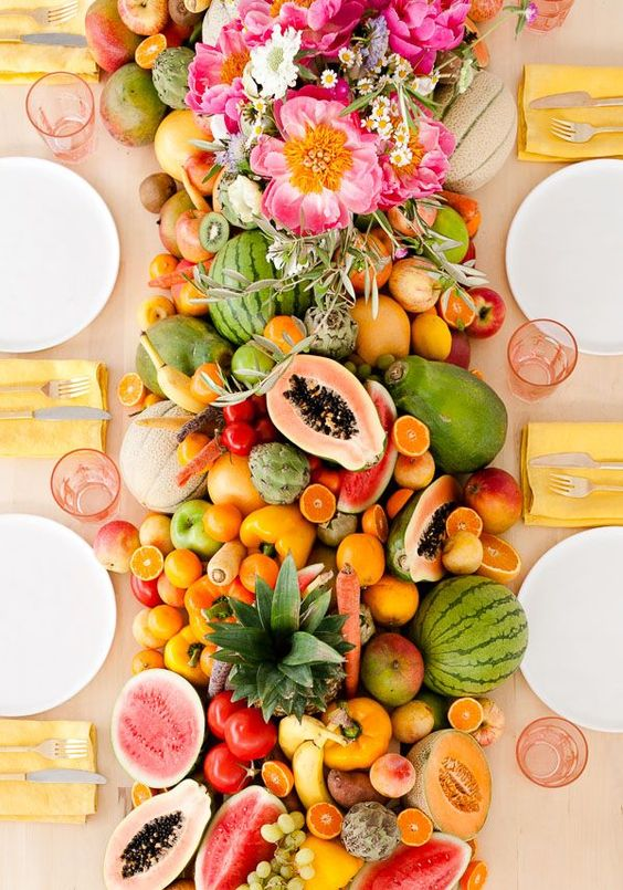 décoration-mariage-fruits-chemin de table