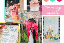 Mon thème de mariage doux et délicieux couleur aquarelle