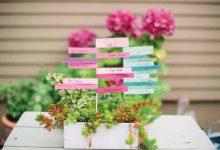 DIY : marques-places colorés à planter dans des jardinières