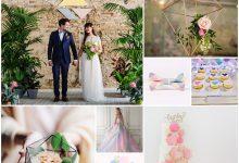 Couleurs pastel et formes géométriques nous proposent un thème de mariage ultra tendance