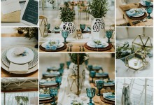 Graphisme, modernité, touche bleu aqua, voilà un mariage chic et contemporain !