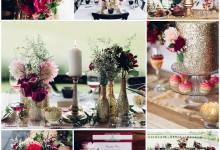 Paillettes dorées et rouge foudroyant au cœur d'une réception de mariage glamour