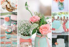 Mon mariage doucement coloré de corail et de bleu pastel