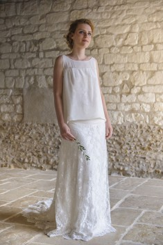 Ensemble de mariée Top poséie et jupe Ada par Salomé Gautard  collection 2016